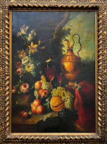 Old Master Revival - Large Original Antique Dutch Still Life of Flowers & Fruit (1 of 12)