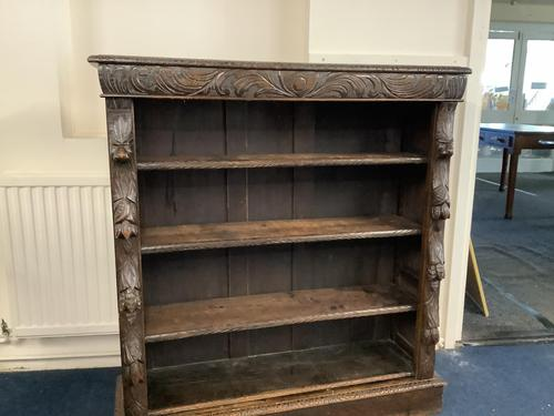 Carved Oak Open Fronted Bookcase (1 of 3)