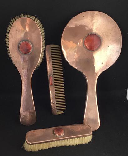 Arts & Crafts Planished Copper 4 Piece Vanity Set (1 of 4)