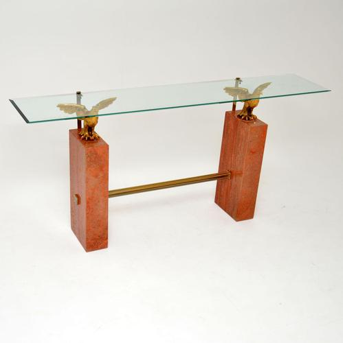 1970's Vintage Marble / Brass / Glass Console Table (1 of 12)