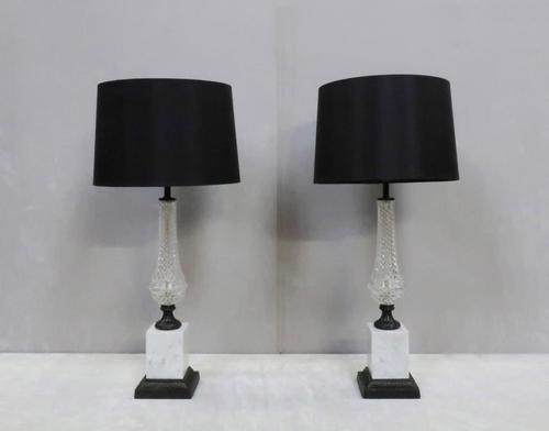 Pair of Italian Mid-century Glass and Bronzed Table Lamps (1 of 6)