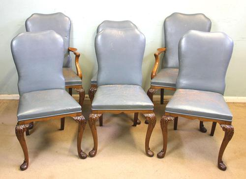 Set of Six Antique Queen Anne Style Walnut Dining Chairs (1 of 15)