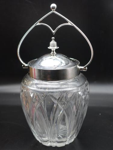 Good Quality Cut Glass & Silver Plated Biscuit Barrel (1 of 1)