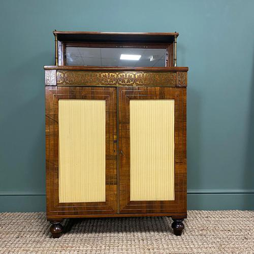 Stunning Warm Rosewood Antique Cabinet with Brass Inlay (1 of 11)