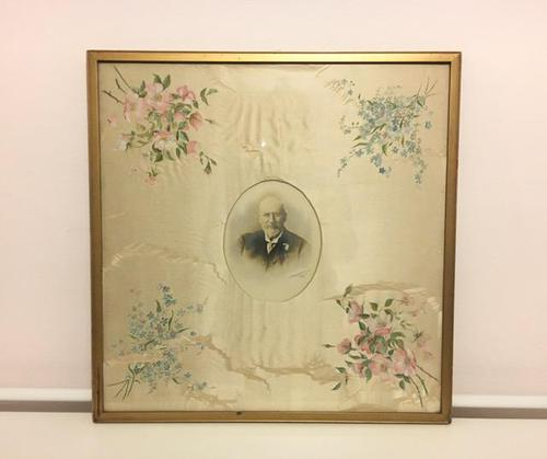 Late Victorian / Edwardian Large Photograph Frame with Hand Painted Silk Mount (1 of 5)