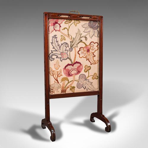 Antique Needlepoint Fire Screen, English, Mahogany, Fireside Guard, Regency (1 of 12)