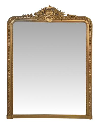 Large 19th Century Gilt Overmantle Mirror (1 of 3)