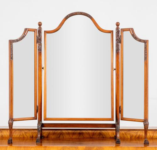 Very Pretty Queen Anne Style Walnut Triple Mirror (1 of 6)