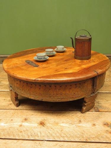Antique Carved Indian Chakki Table Coffee Table with Lid (1 of 14)