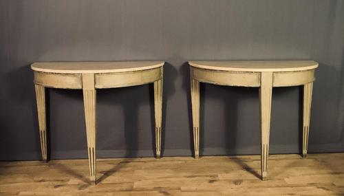Pair of Swedish Gustavian Style Painted Marble Top Console Tables (1 of 12)