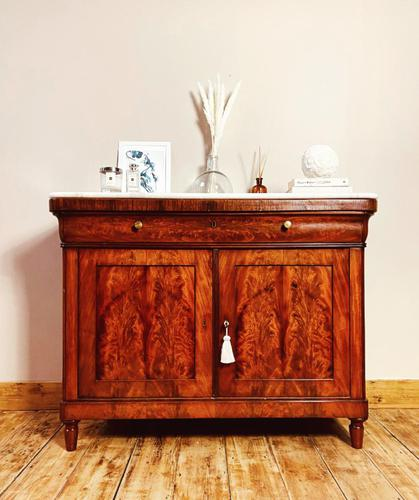 Antique French Flamed Mahogany Sideboard / Cupboard / Marble Linen Cabinet (1 of 4)
