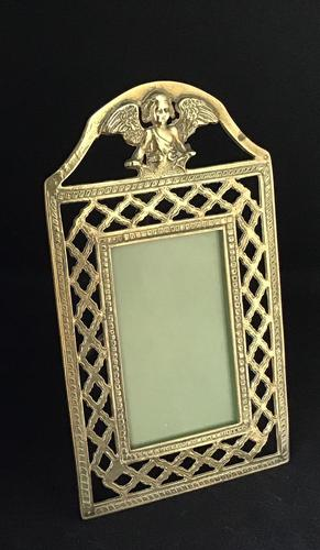 Antique Brass Fretwork Easel Photo Frame. (1 of 6)