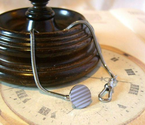 Vintage Pocket Watch Chain 1970s Silver Chrome Snake Link With Ornate Button Hole Fob (1 of 8)