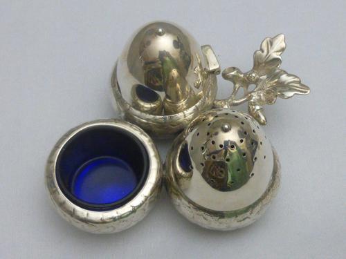 Silver Victorian Acorn Cruet Set (1 of 6)