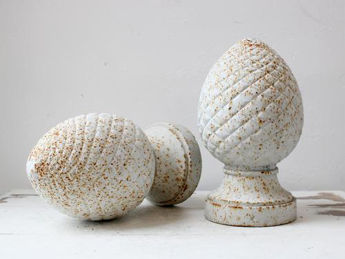 Patinated Cast Iron Pine Cone Finials (1 of 4)