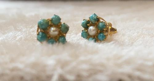 9ct Gold Turquoise & Pearl Cluster Earrings (1 of 5)