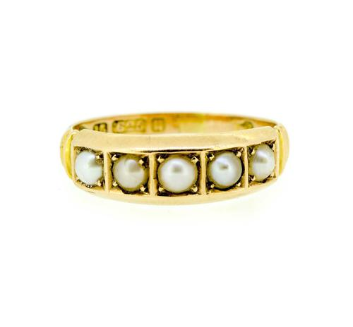 Late Victorian 15ct Yellow Gold Pearl Eternity Ring (1 of 8)
