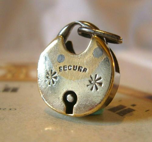 Antique Pocket Watch Chain Fob 1830s Georgian Silver Chrome Chunky Padlock Fob (1 of 6)