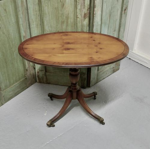 Oval Yew Wood Wine Table, Low Occasional Table (1 of 5)