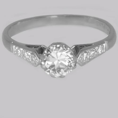 Antique Diamond Solitaire Ring 18ct Gold & Plat Vintage 0.85ct  Diamond Engagement Ring (1 of 14)