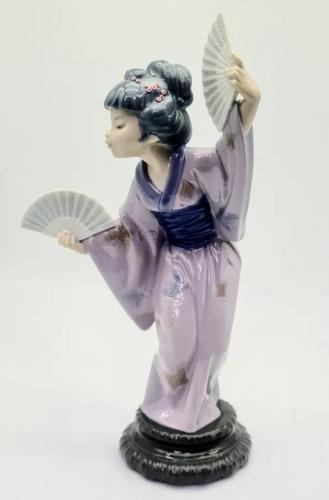 Large Lladro Porcelain Geisha Figurine Holding Two Fans (1 of 11)