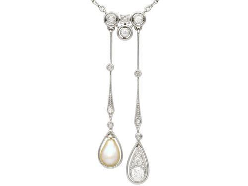 0.37ct Diamond & Pearl, 14ct Yellow Gold Pendant - Antique c.1910 (1 of 9)