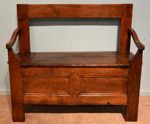 Early Nineteenth Century French Cherry Wood Bench (1 of 7)