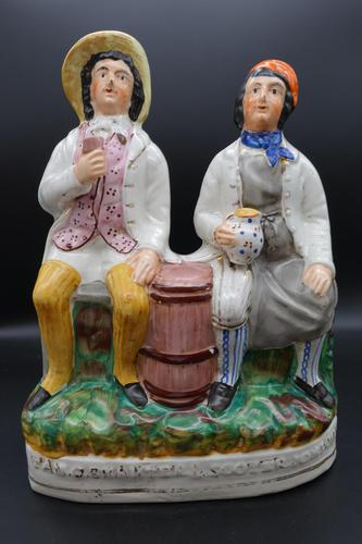 Late 19th Century Staffordshire Figure of Tam O Shanter & Souter Johnny (1 of 4)