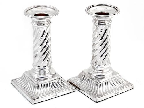 Pair of Victorian Silver Plated Candle Sticks with Spiral Fluted Columns (1 of 4)