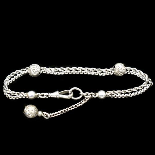 Antique Victorian Sterling Silver Albertina Albert Watch Chain Bracelet with Chased Balls (1 of 9)