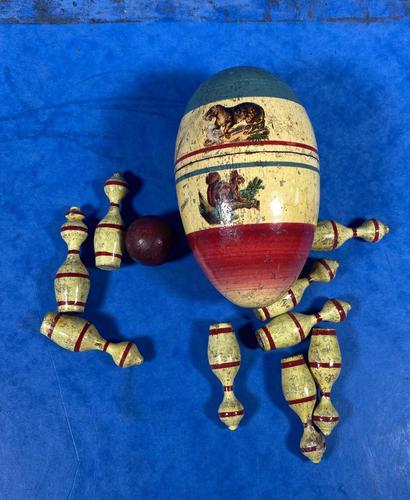 19th Century Skittles Game in Tunbridge Ware White Wood Painted Egg (1 of 21)