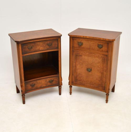Pair of Georgian Style Burr Walnut Bedside Cabinets c.1930 (1 of 11)
