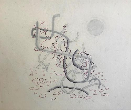 Original Pen & Wash Drawing 'Old WW2 Beach Defences' by R J Lloyd - Signed (1 of 1)