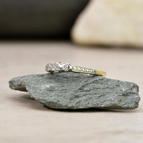 The Vintage Early 20th Century Three Diamond Ring (1 of 6)
