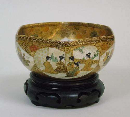 Antique Meiji Satsuma Bowl on Stand Signed (1 of 10)