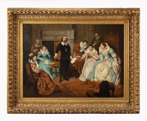 Large 19th Century Scene of William Shakespeare, British School Oil on Canvas (1 of 4)