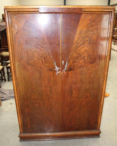 1920s 2 Door Art Deco Mahogany Wardrobe All Hanging (1 of 4)