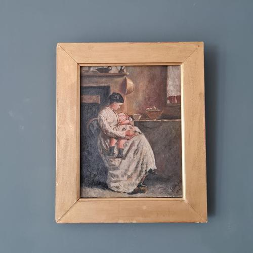 Antique Painting of Mother & Child (1 of 2)