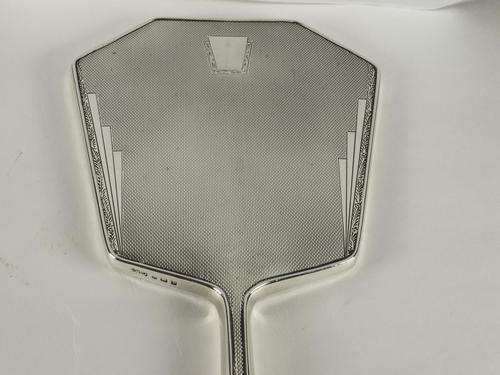 Silver Art Deco Hand Mirror (1 of 4)