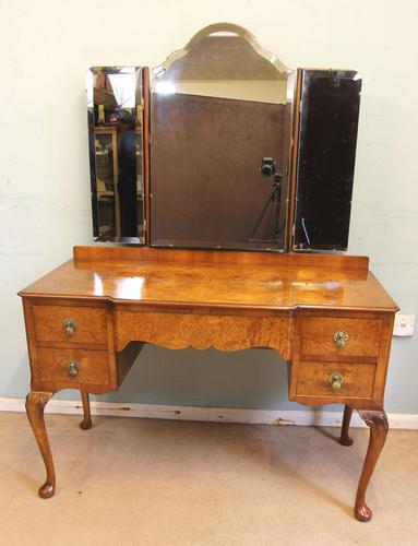 Antique Burr Walnut, Triple Mirror Shaped Dressing Table (1 of 12)