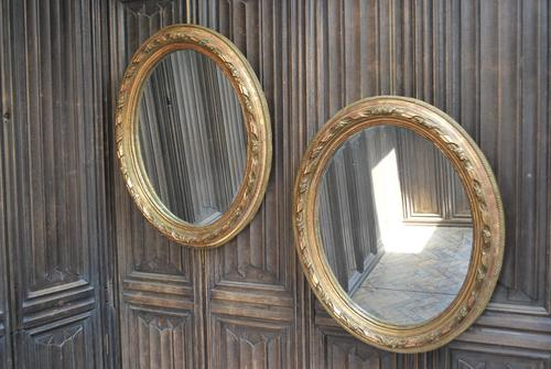 Pair of Gilt French Oval Mirrors (1 of 7)