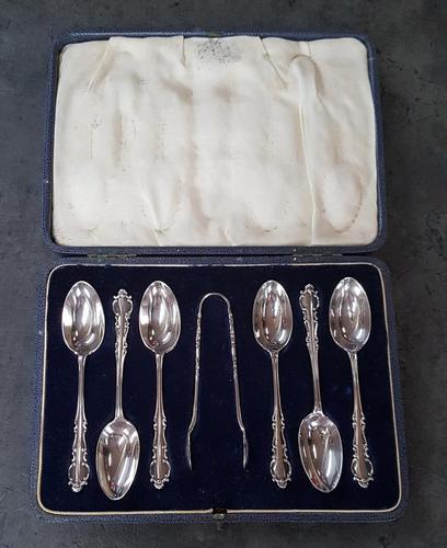 Cased Set of 6 Silver Teaspoons & Tongs (1 of 4)