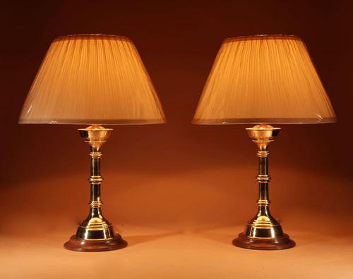 Pair of Very Decorative Solid Brass Candlesticks now as Table Lamps (1 of 3)
