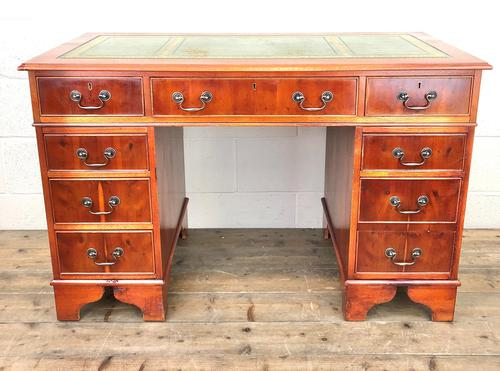 Reproduction Yew Wood Kneehole Desk (1 of 12)