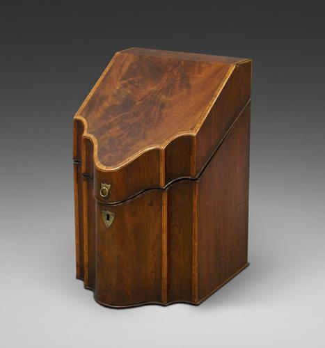George III Flame Mahogany Knife Box (1 of 6)