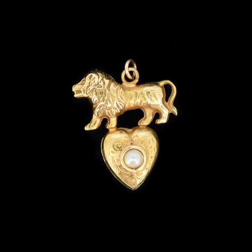 Antique 9ct 9K Yellow Gold Lion & Pearl Heart Pendant Charm (1 of 8)