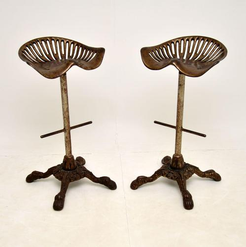 Pair of Antique Victorian Cast Iron Tractor Bar Stools (1 of 12)