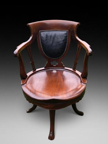 Desirable 19th Mahogany Desk Chair (1 of 3)