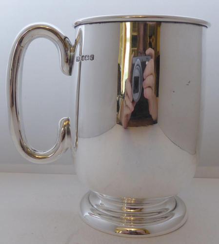 E Viner 1961 Hallmarked Solid Silver 1 One Pint Tankard Christening Mug 350g (1 of 9)
