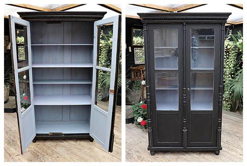 Fabulous Old Pine / Black Painted Glazed Cupboard / Display Cabinet - We Deliver! (1 of 12)